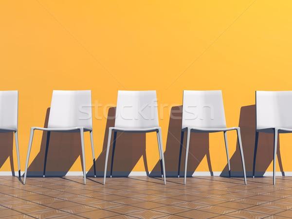 Turuncu bekleme odası 3d render birkaç beyaz sandalye Stok fotoğraf © Elenarts