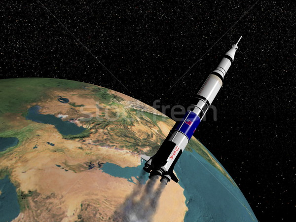 Saturn V spaceship - 3D render Stock photo © Elenarts
