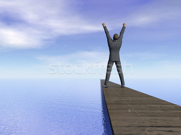 Businessman victory - 3D render Stock photo © Elenarts