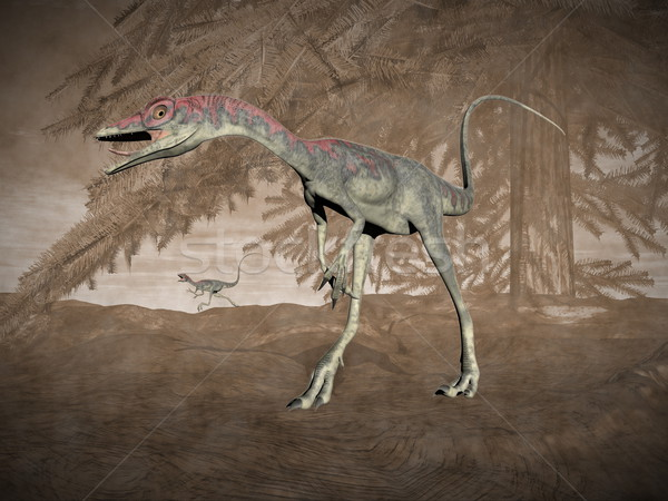 Compsognathus dinosaur - 3D render Stock photo © Elenarts
