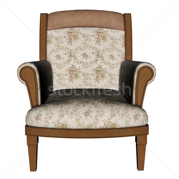 древних кресло 3d визуализации изолированный белый искусства Сток-фото © Elenarts