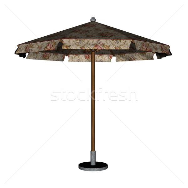 Ombrellone ombrello rendering 3d isolato bianco sole Foto d'archivio © Elenarts