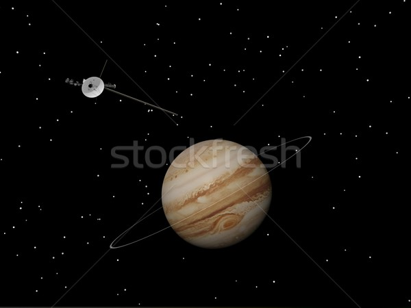 Voyager spacecraft near Jupiter and its unknown ring - 3D render Stock photo © Elenarts