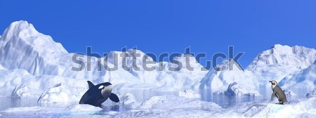 Meeting among icebergs - 3D render Stock photo © Elenarts