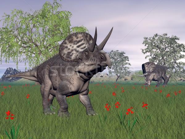 Zuniceratops dinosaurs in nature - 3D render Stock photo © Elenarts