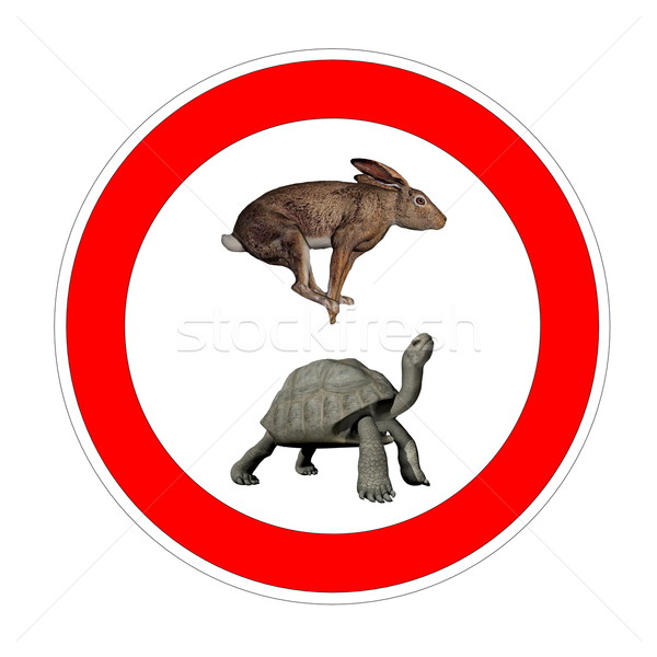 Turtle and hare speed limit Stock photo © Elenarts
