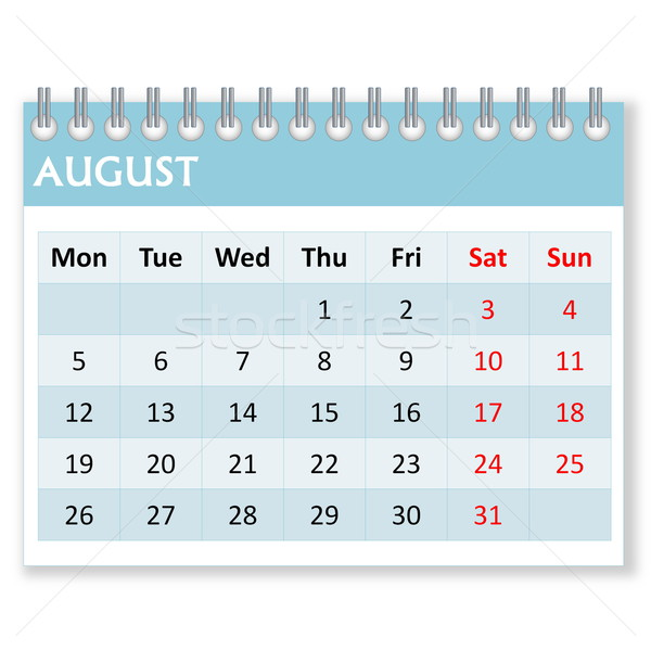 Calendar sheet for august Stock photo © Elenarts
