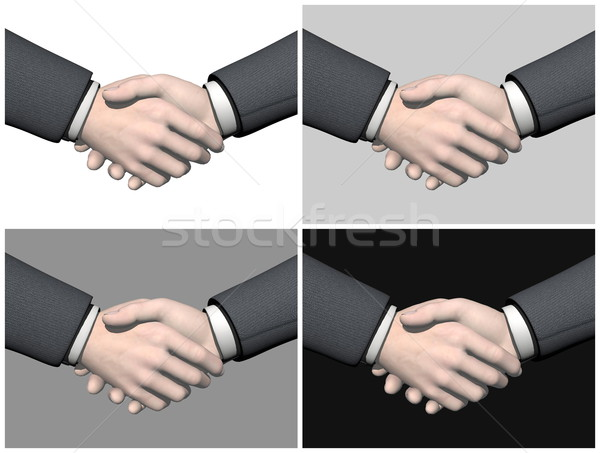 Affaires handshake rendu 3d quatre blanche Photo stock © Elenarts