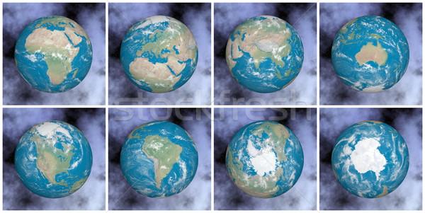 Kontinensek Föld 3d render összes elemek kép Stock fotó © Elenarts