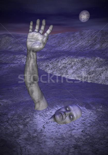 Zombie halloween 3d render een hand omhoog Stockfoto © Elenarts