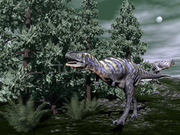 Stock photo: Aucasaurus dinosaur running - 3D render