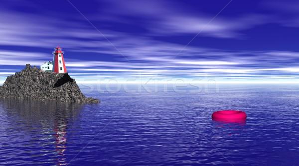 Lighthouse and buoy by night Stock photo © Elenarts