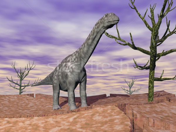 Stock fotó: Dinoszaurusz · vad · áll · repedt · sivatag · föld