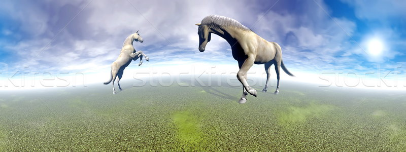 Horses in green landscape - 3D render Stock photo © Elenarts