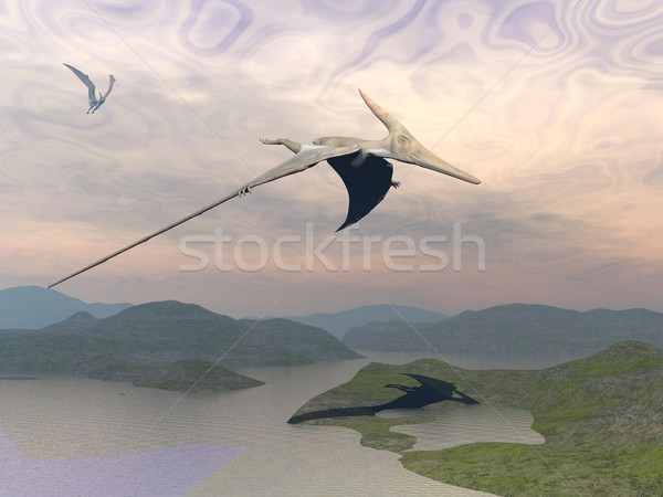 Pteranodon dinosaurs flying - 3D render Stock photo © Elenarts