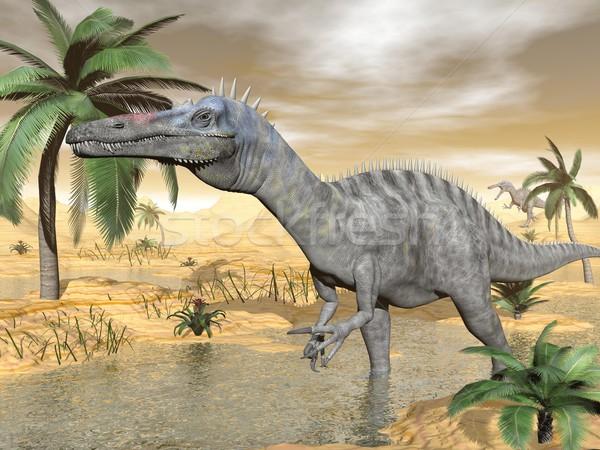 Suchomimus dinosaurs in desert - 3D render Stock photo © Elenarts