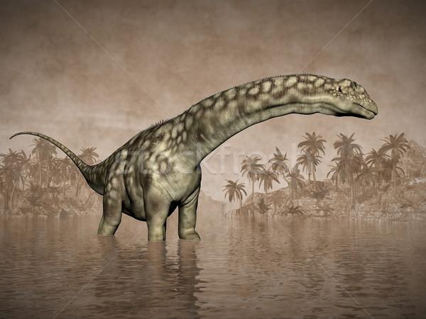 Dinosaurus 3d render water eilanden palmbomen mooie Stockfoto © Elenarts