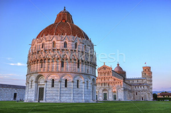 Piazza del Duomo o dei Miracoli or Cathedral Square of Miracles, Baptistery, Pisa, Italy, hdr Stock photo © Elenarts