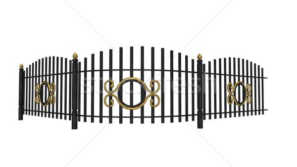 Vintage забор 3d визуализации металлический изолированный белый Сток-фото © Elenarts