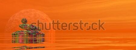 Zen stenen 3d render water Rood stralen Stockfoto © Elenarts