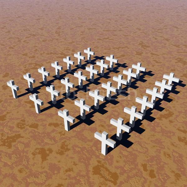 Branco cruzes muitos deserto morte Foto stock © Elenarts