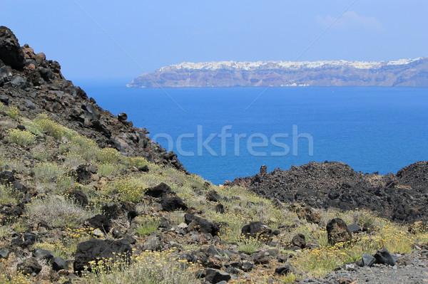 Oia from the volcano, Santorini, Greece Stock photo © Elenarts