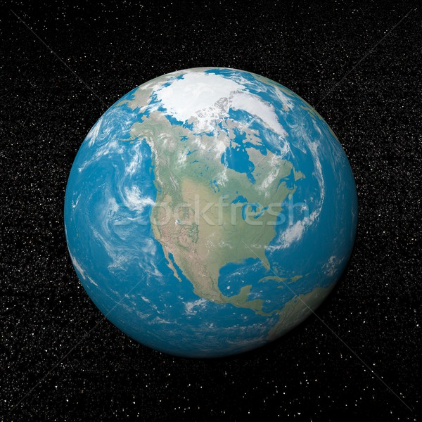 Сток-фото: север · Америки · земле · 3d · визуализации · Вселенной · звезды