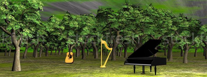 Müzik orman 3d render piyano gitar arp Stok fotoğraf © Elenarts