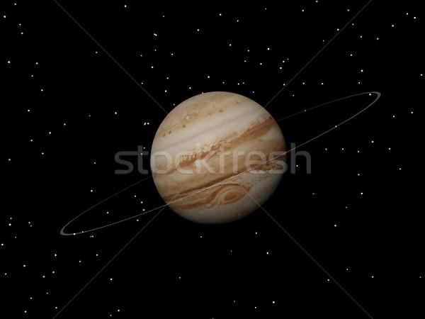 Planeta desconhecido anel noite 3d render tempestade Foto stock © Elenarts