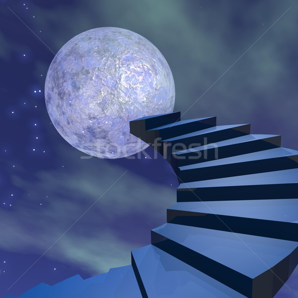 Stairs to the moon - 3D render Stock photo © Elenarts