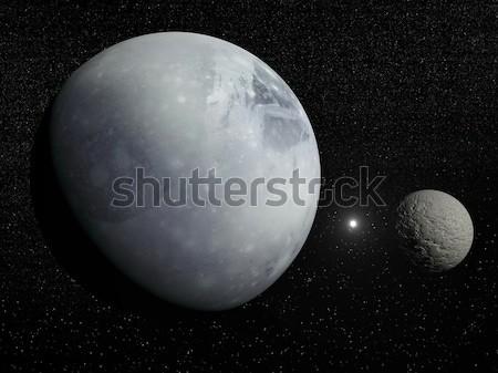 Pluton, Charon and Polaris star - 3D render Stock photo © Elenarts