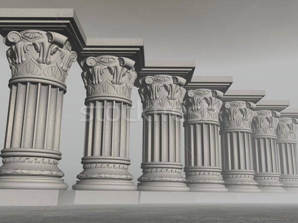 Kő oszlopok 3d render néhány ködös szürke Stock fotó © Elenarts