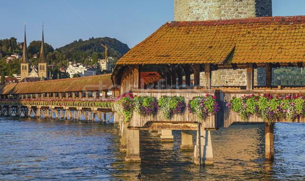 Chapel bridge or Kapellbrucke, Lucerne, Switzerland Stock photo © Elenarts