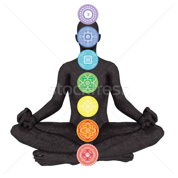 Hét csakra szimbólumok oszlop fekete emberi Stock fotó © Elenarts