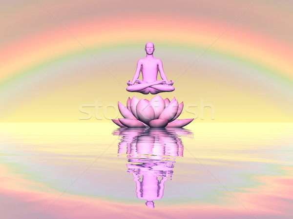 Meditation upon lily lotus flower - 3D render Stock photo © Elenarts