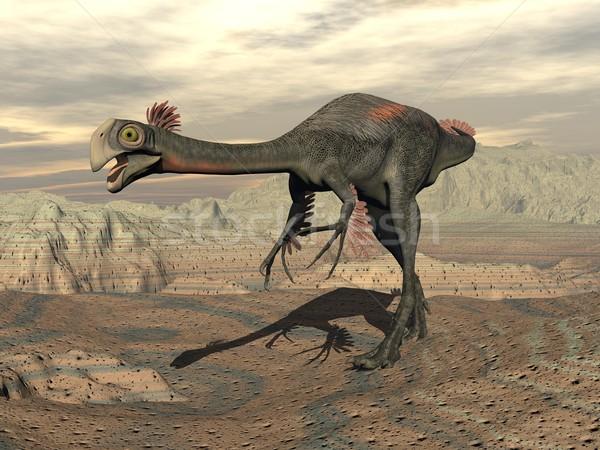 Gigantoraptor dinosaur in the desert - 3D render Stock photo © Elenarts