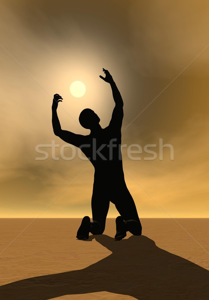 молитвы солнце 3d визуализации назад человека молиться Сток-фото © Elenarts
