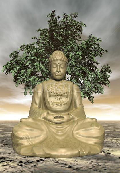 Buddha rendu 3d or statue méditer arbre Photo stock © Elenarts