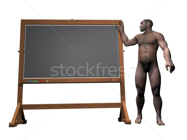 Prehistoric man message - 3D render Stock photo © Elenarts