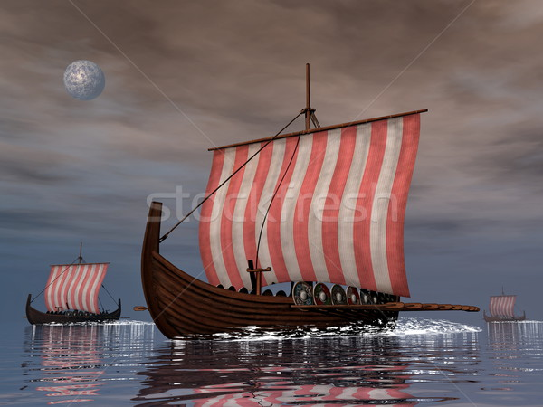 Drakkars or viking ships - 3D render Stock photo © Elenarts