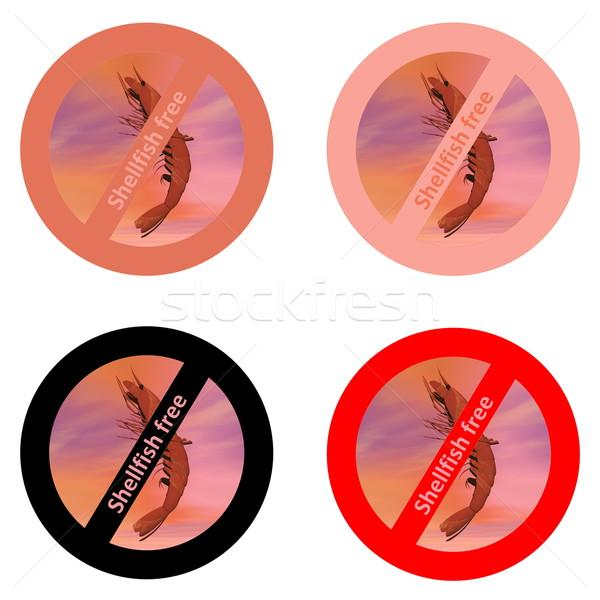 Stickers schelpdier gratis producten vier witte Stockfoto © Elenarts