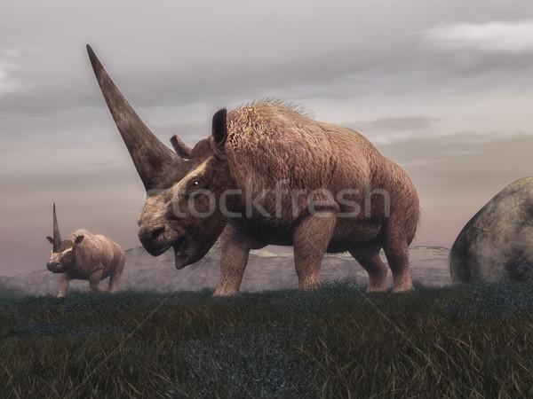 Elasmotherium mammal dinosaurs - 3D render Stock photo © Elenarts