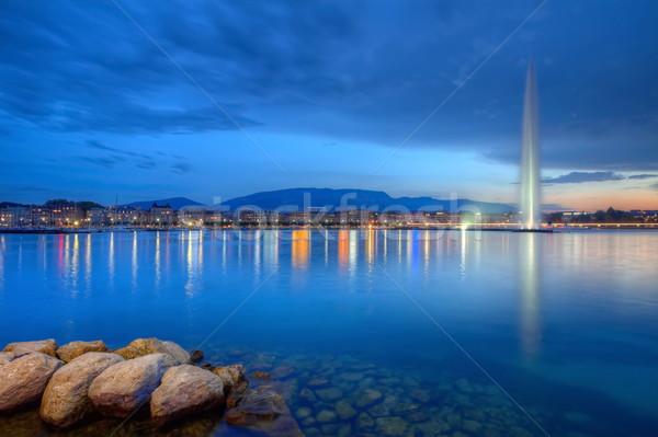 Genova panoráma híres szökőkút Svájc hdr Stock fotó © Elenarts