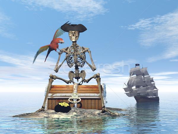 Skeleton pirate treasure - 3D render Stock photo © Elenarts