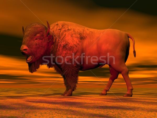 Red bison - 3D render Stock photo © Elenarts