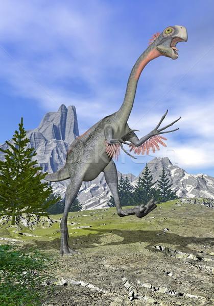 Gigantoraptor dinosaur running - 3D render Stock photo © Elenarts