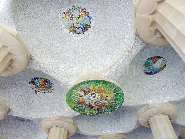 Mosaic representing the sun, park Guell, Barcelona, Spain Stock photo © Elenarts