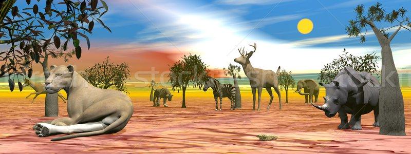 サバンナ 風景 3dのレンダリング アフリカ 動物 ストックフォト © Elenarts