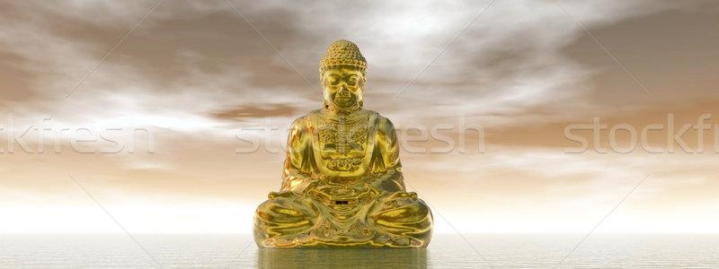 Buddha rendering 3d uno acqua Foto d'archivio © Elenarts