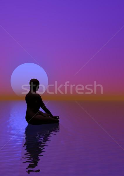 Meditación violeta luna humanos océano hermosa Foto stock © Elenarts